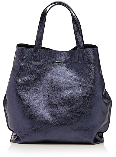 Metallic leather slouch tote
