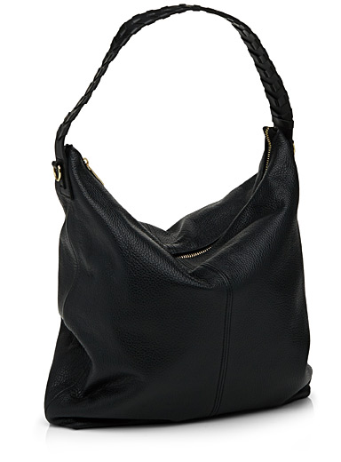 Braided-handle hobo bag