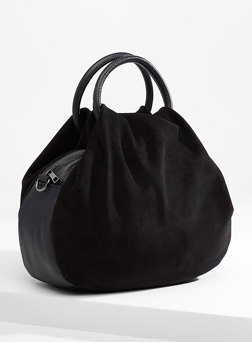 Simons Black Gathered suede bag for women