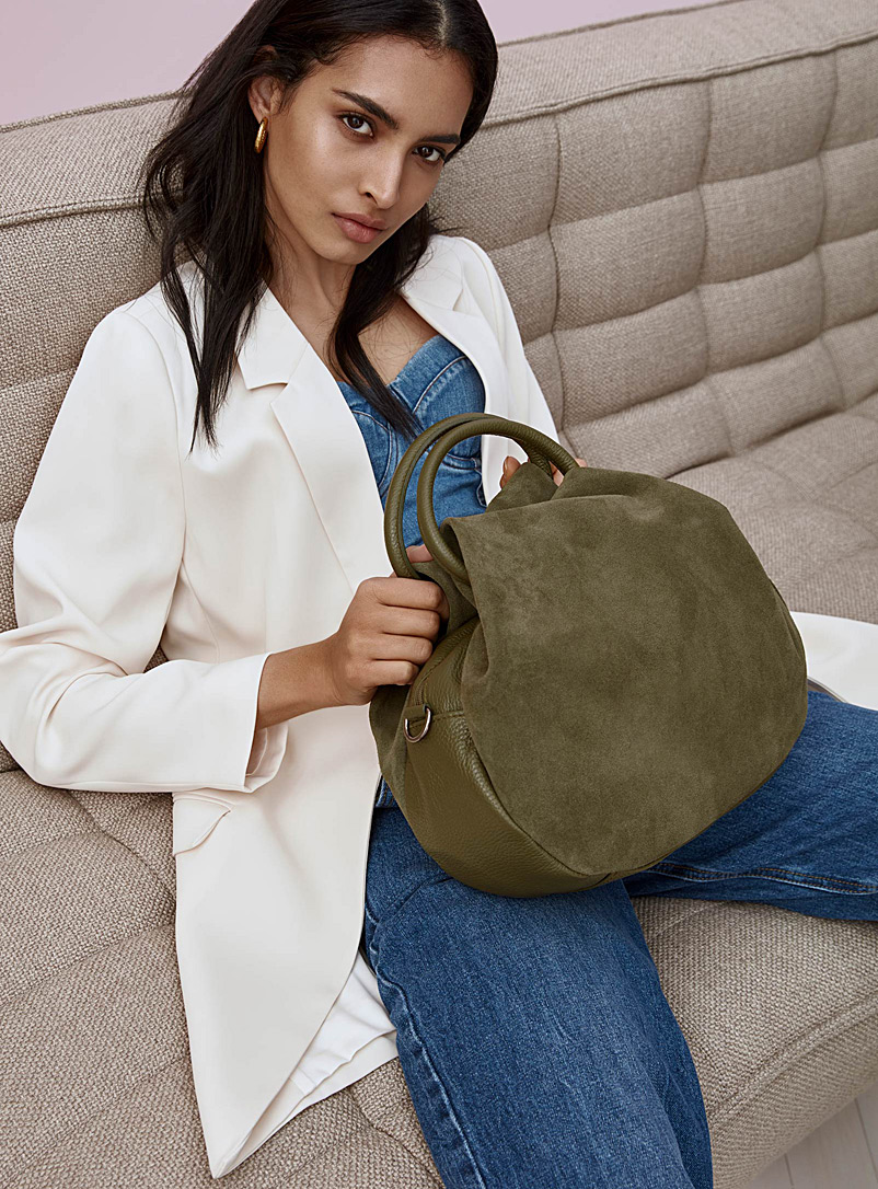 Simons Mossy Green Gathered suede bag for women