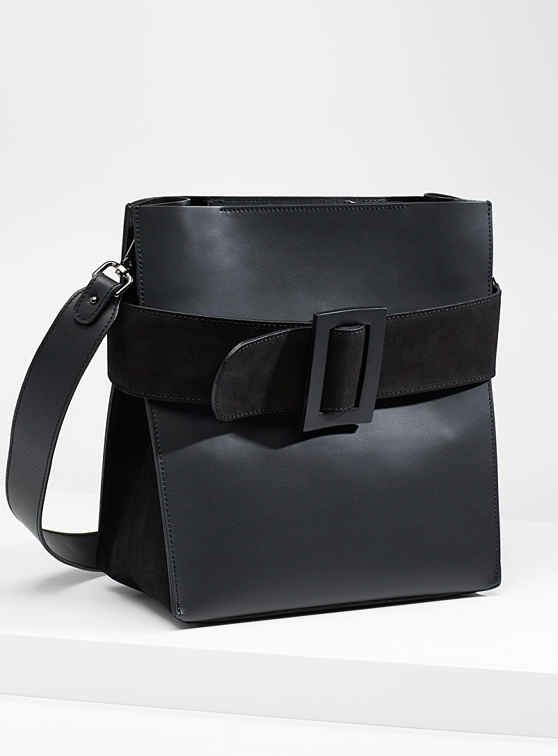 Simons Black Slim suede handbag for women