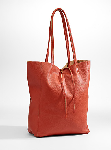 Supple-leather tote and clutch