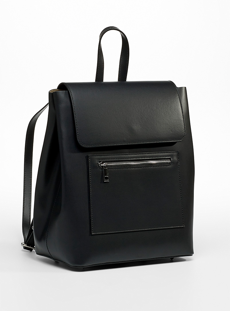Simons Black Minimalist all-leather backpack for women
