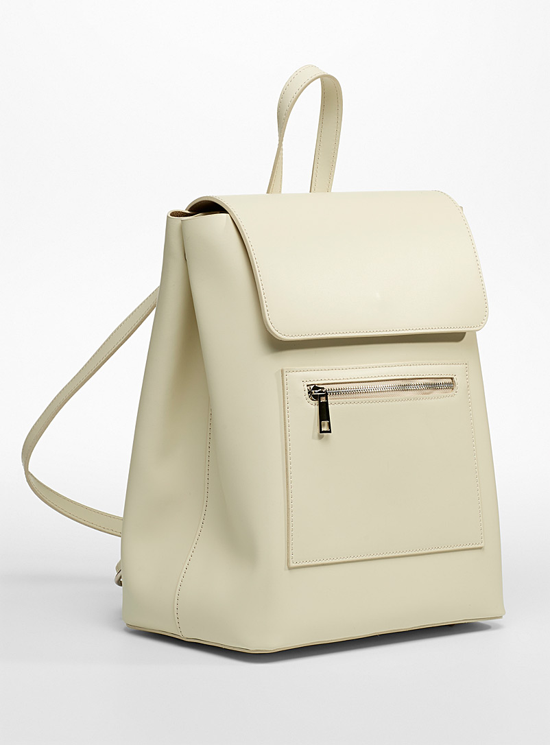 Simons Ivory White Minimalist all-leather backpack for women