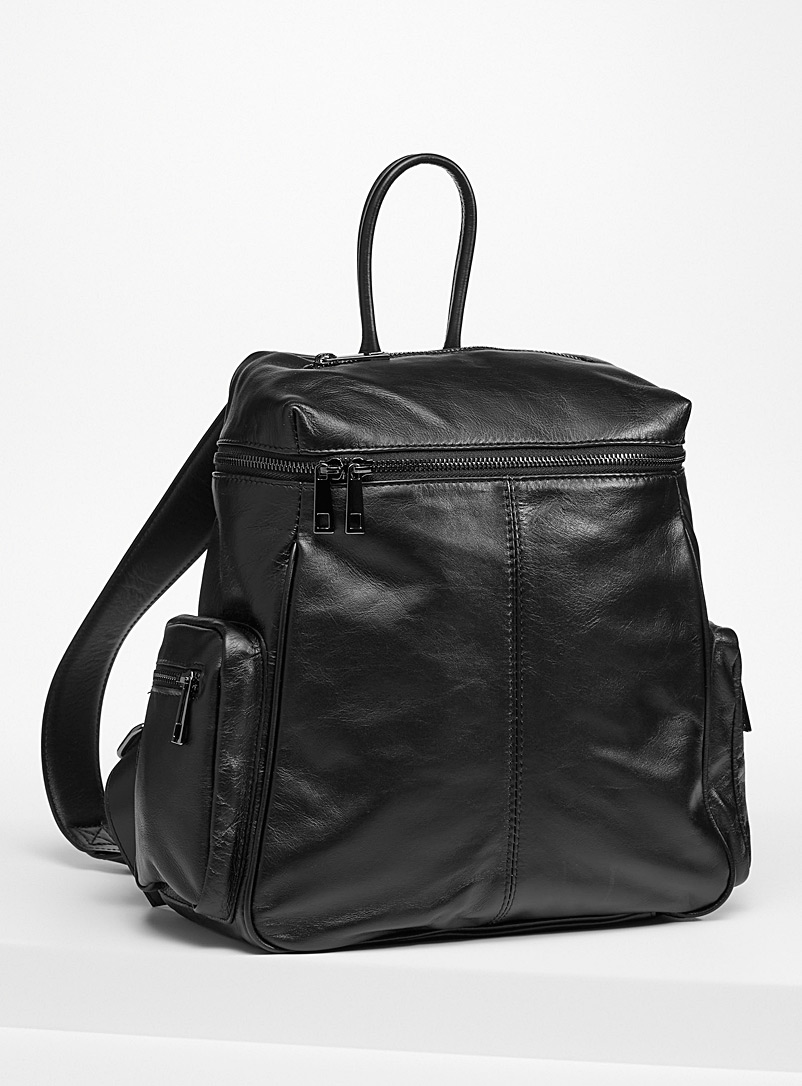 Topstitch leather backpack