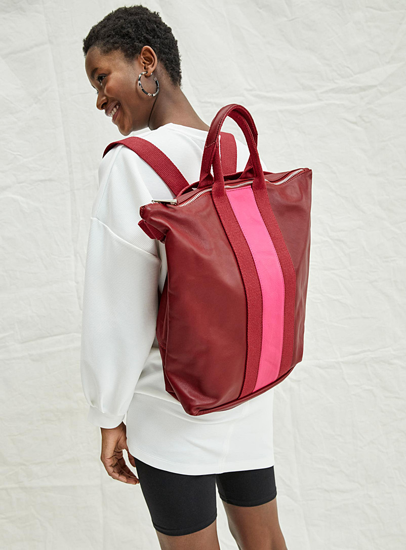 Tote-like backpack - Leather and Suede - Patterned Red