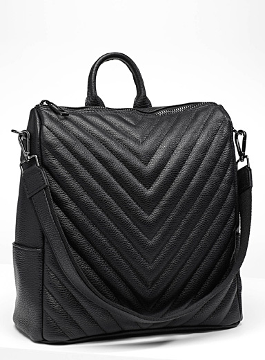 Chevron leather backpack