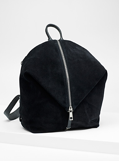 Geo leather and suede backpack