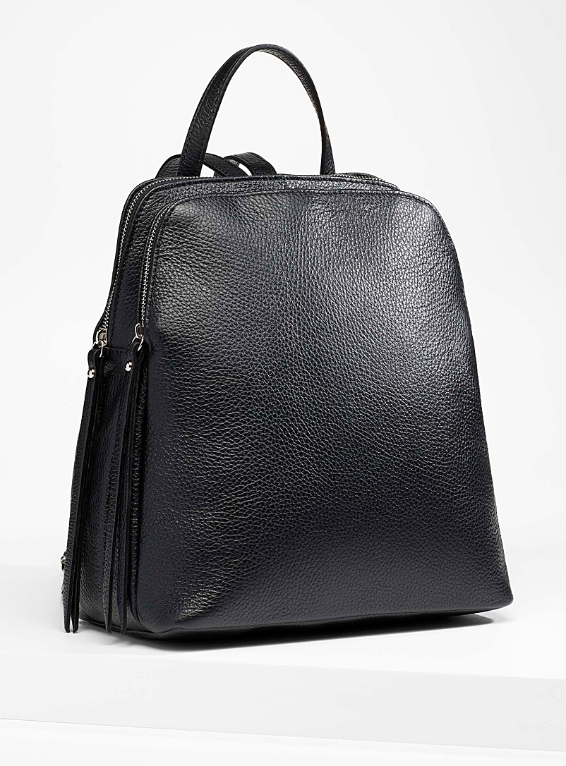 Divided leather backpack - Leather and Suede - Black