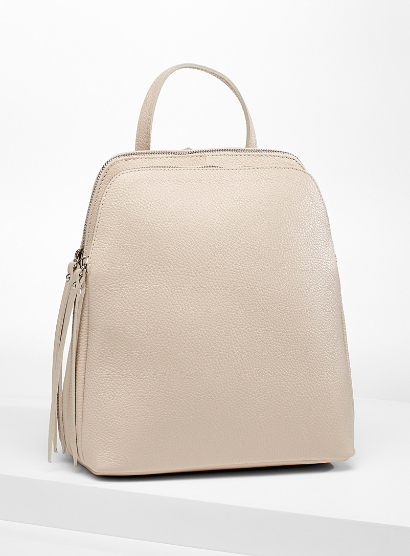 Simons Ivory White Divided leather backpack for women
