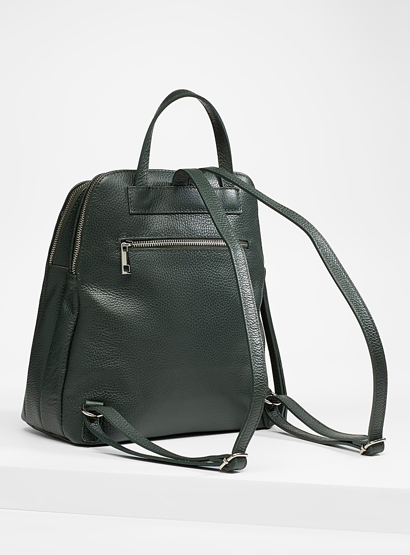Simons Mossy Green Divided leather backpack for women
