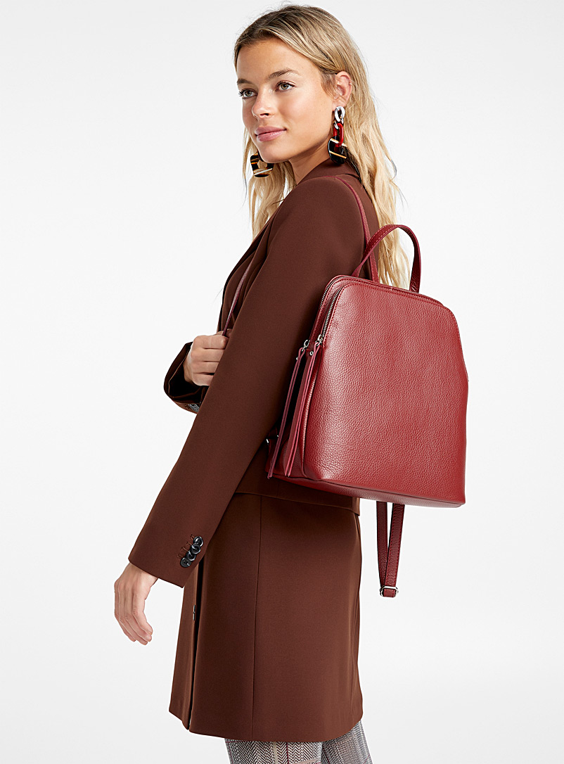 Divided leather backpack - Leather and Suede - Ruby Red