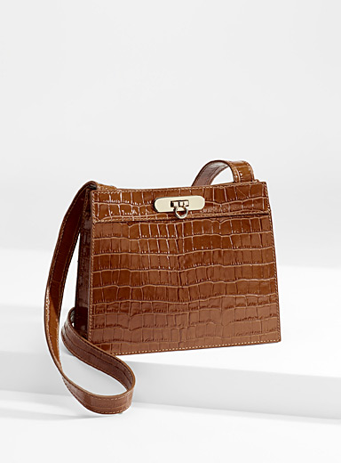 Faux-croc leather shoulder bag