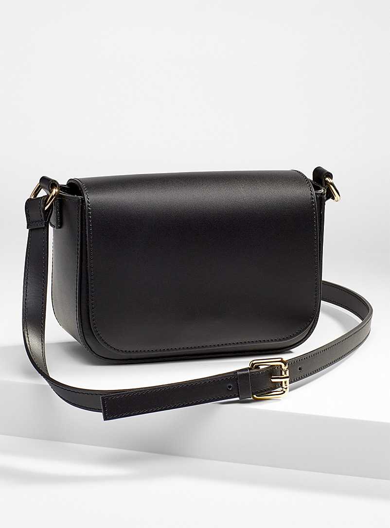 Simons Brown Smooth leather small shoulder bag for women