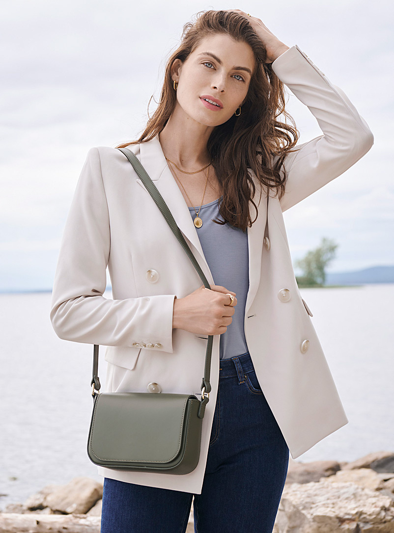 Simons Mossy Green Small smooth leather shoulder bag for women