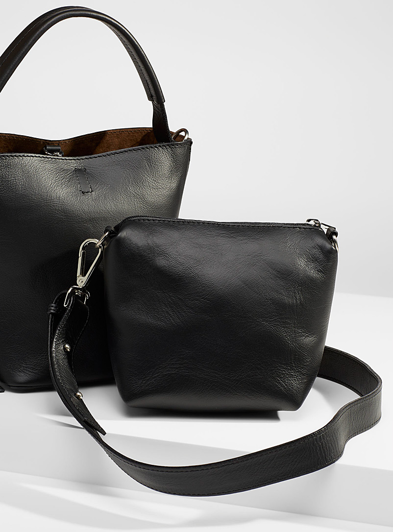 Simons Black Knotted accent leather bucket bag for women