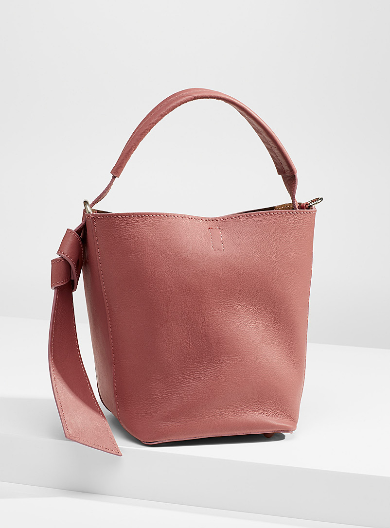 Simons Medium Pink Knotted accent leather bucket bag for women