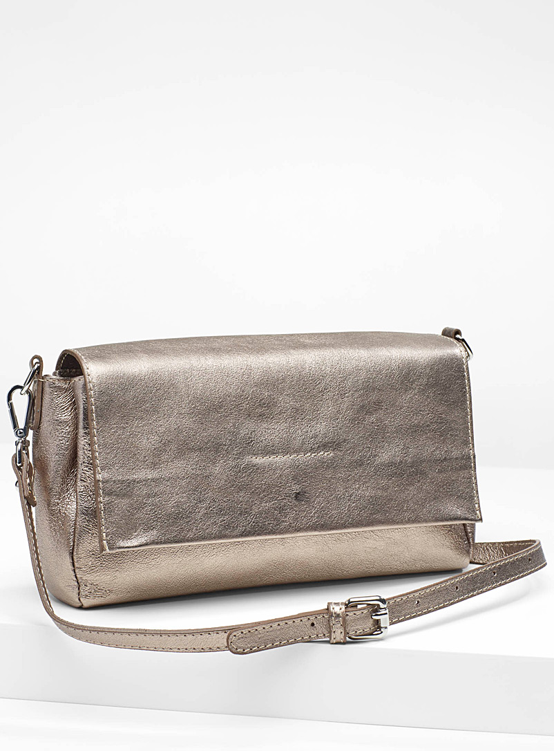 Metallic leather clutch - Clutches and Minaudieres - Amber Bronze