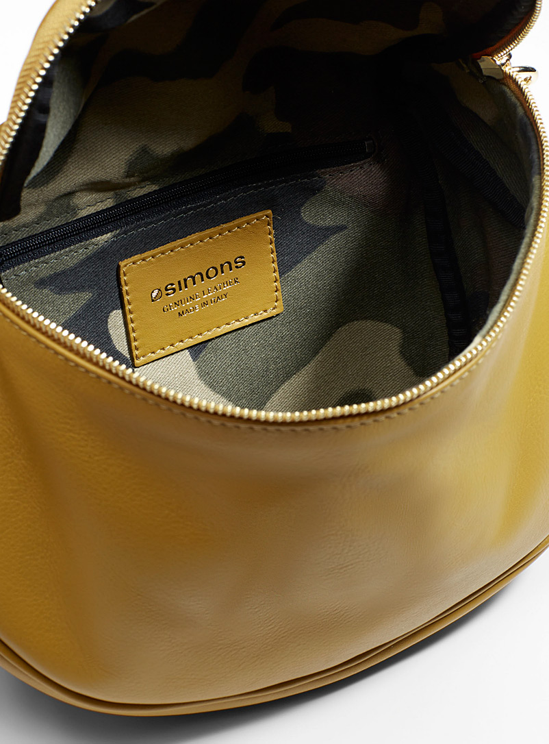 Retro shoulder bag - Leather and Suede - Golden Yellow