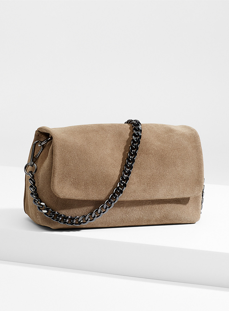 Simons Honey Suede chain clutch for women