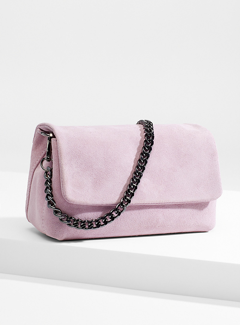 Simons Lilacs Suede chain clutch for women