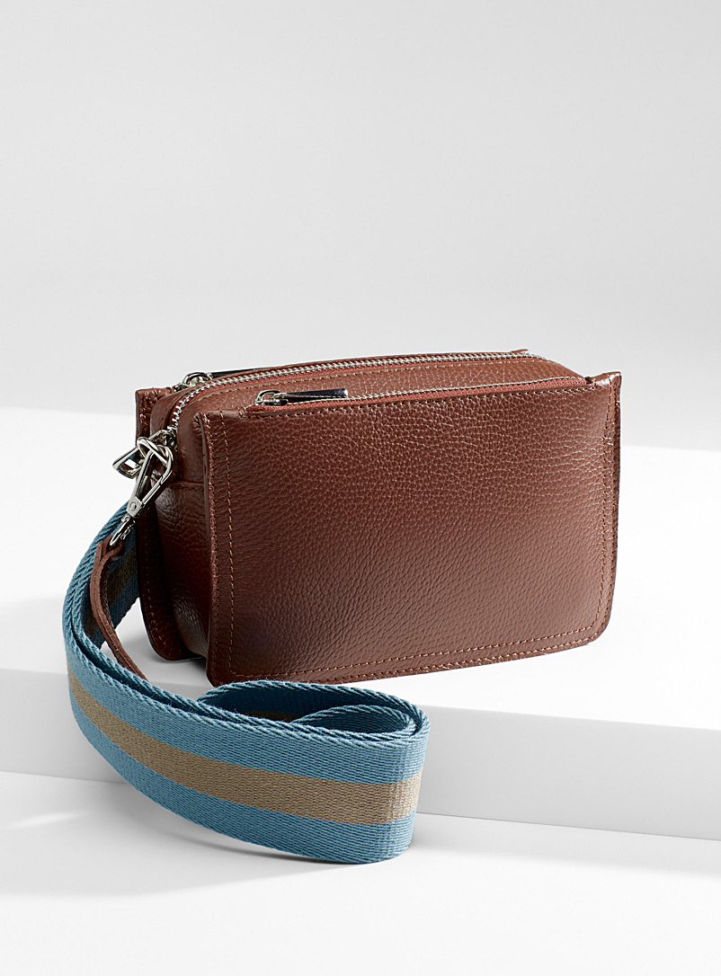 Striped shoulder bag - Leather and Suede - Dark Brown