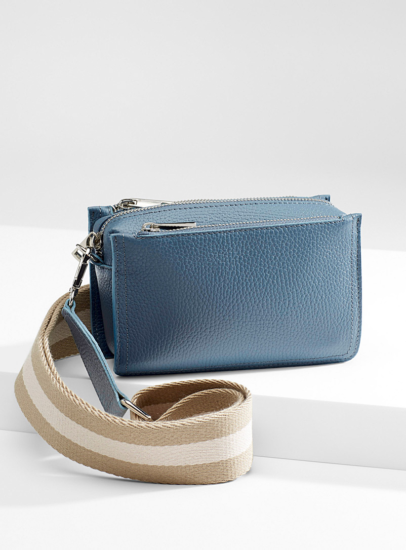 Simons Slate Blue Striped shoulder bag for women