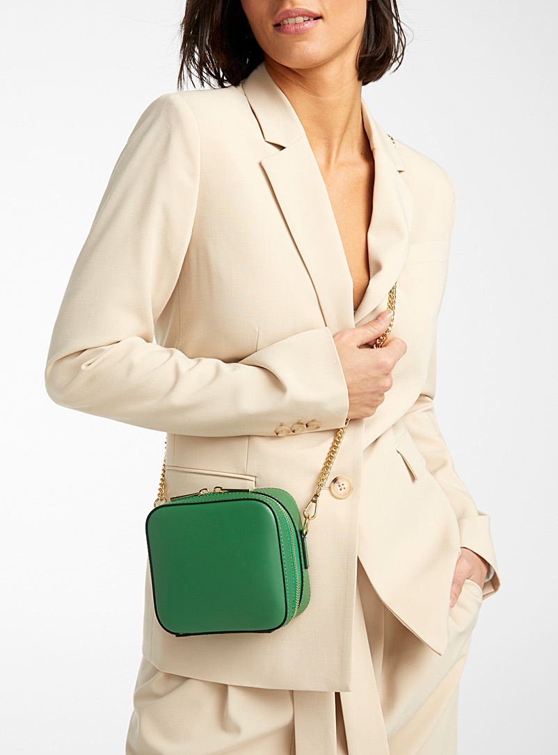 Geo square bag - Leather and Suede - Bottle Green