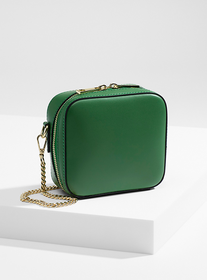 Simons Bottle Green Geo square bag for women