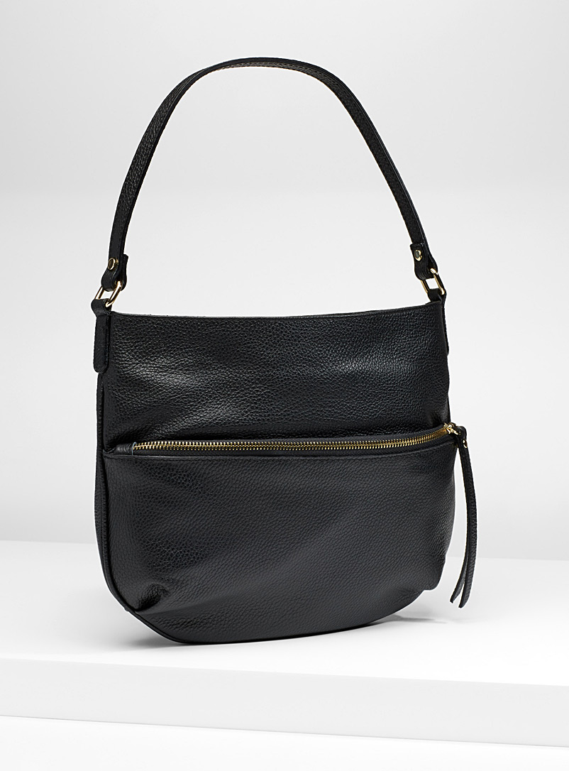 Half-moon leather shoulder bag - Leather and Suede - Black