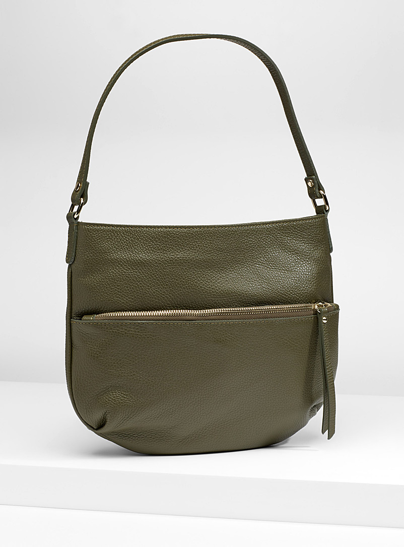 Half-moon leather shoulder bag - Leather and Suede - Lime Green