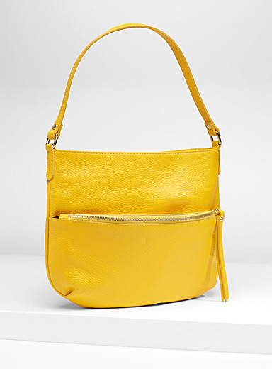 Half-moon leather shoulder bag