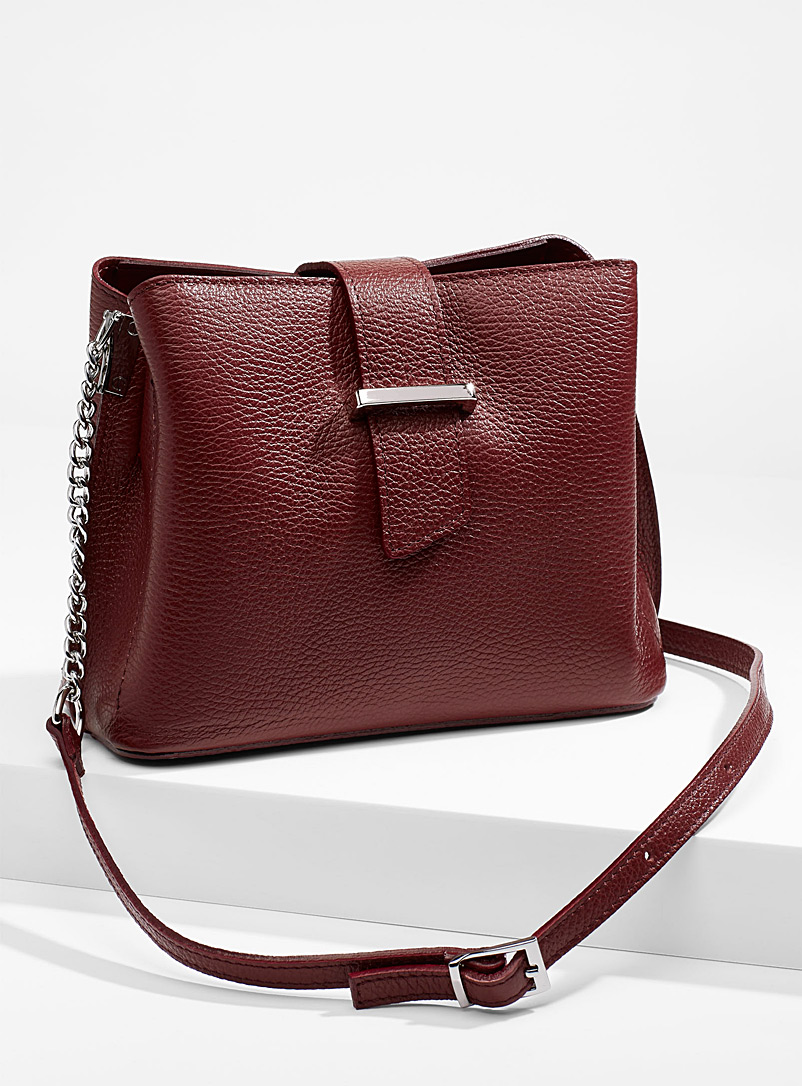 Structured shoulder bag - Leather and Suede - Ruby Red