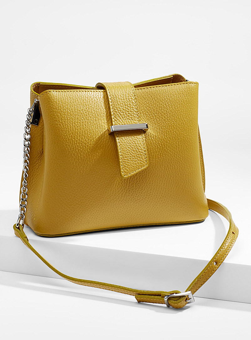Structured shoulder bag - Leather and Suede - Medium Yellow