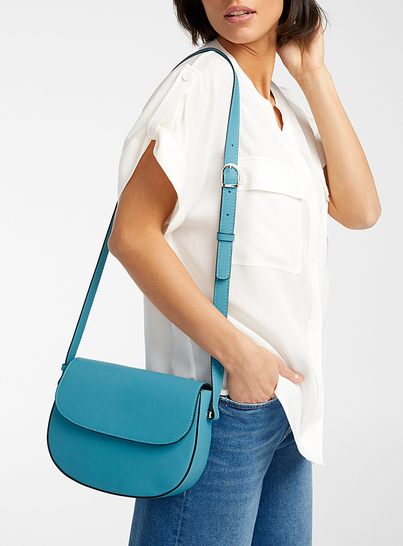 Simons Teal Italian leather equestrian bag for women