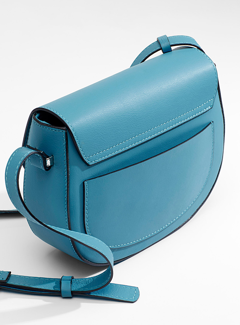 Italian leather equestrian bag - Leather and Suede - Teal