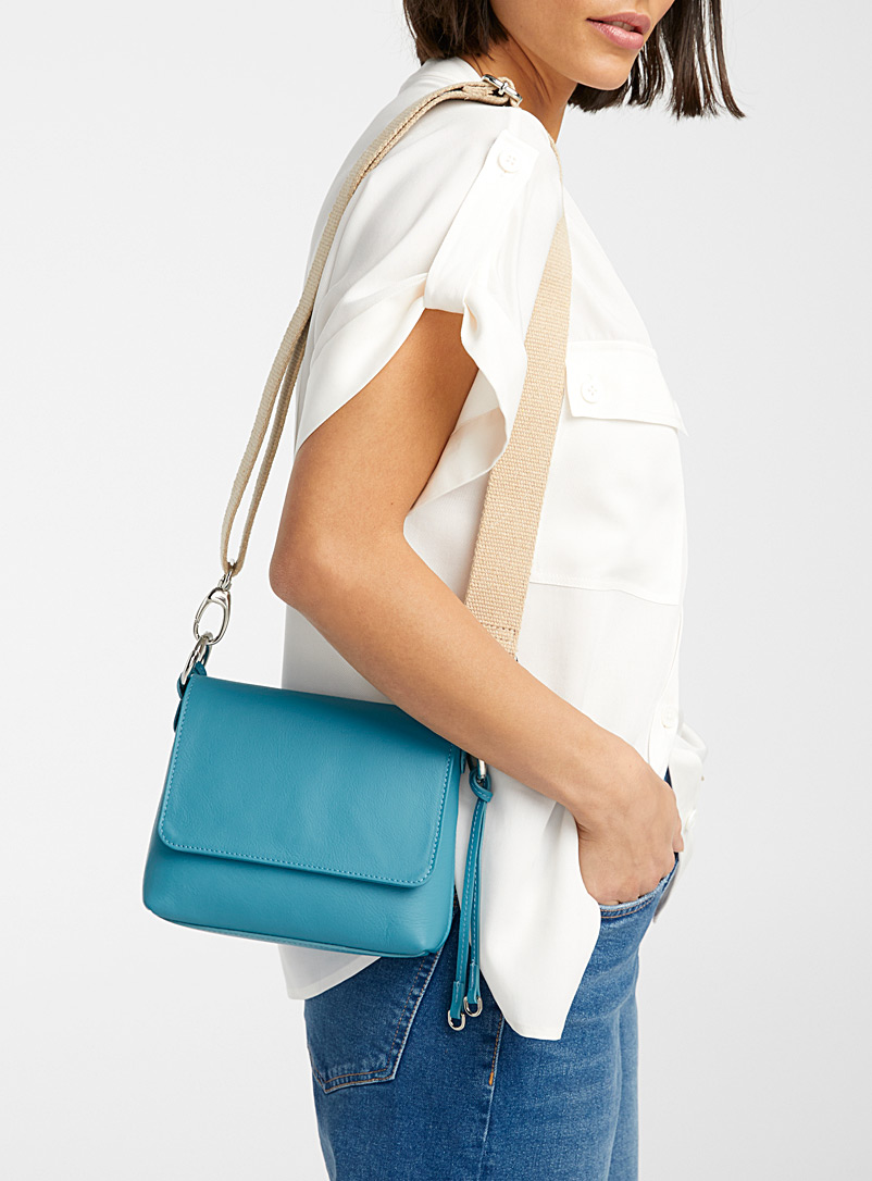 Simons Teal Minimalist square shoulder bag for women