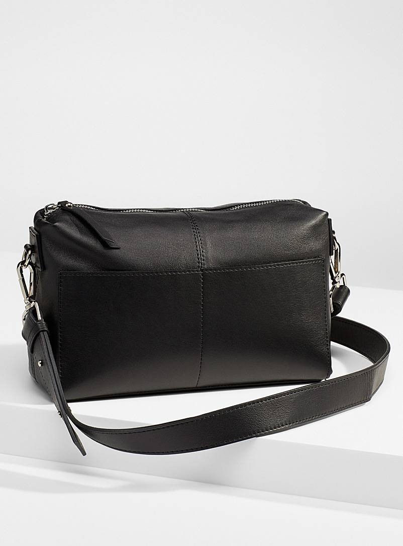 Simons Black Small leather shoulder strap saddle bag for women
