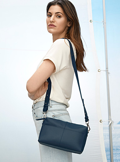 Small leather shoulder strap saddle bag