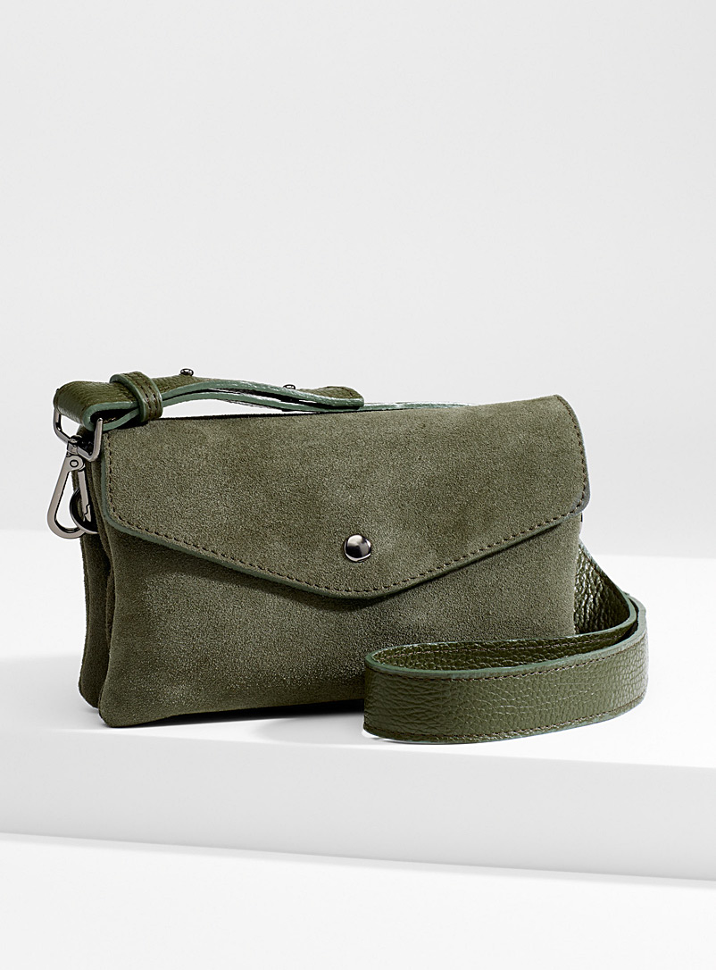 Suede envelope clutch - Clutches and Minaudieres - Mossy Green