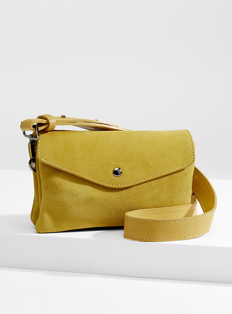 Suede envelope clutch - Clutches and Minaudieres - Golden Yellow