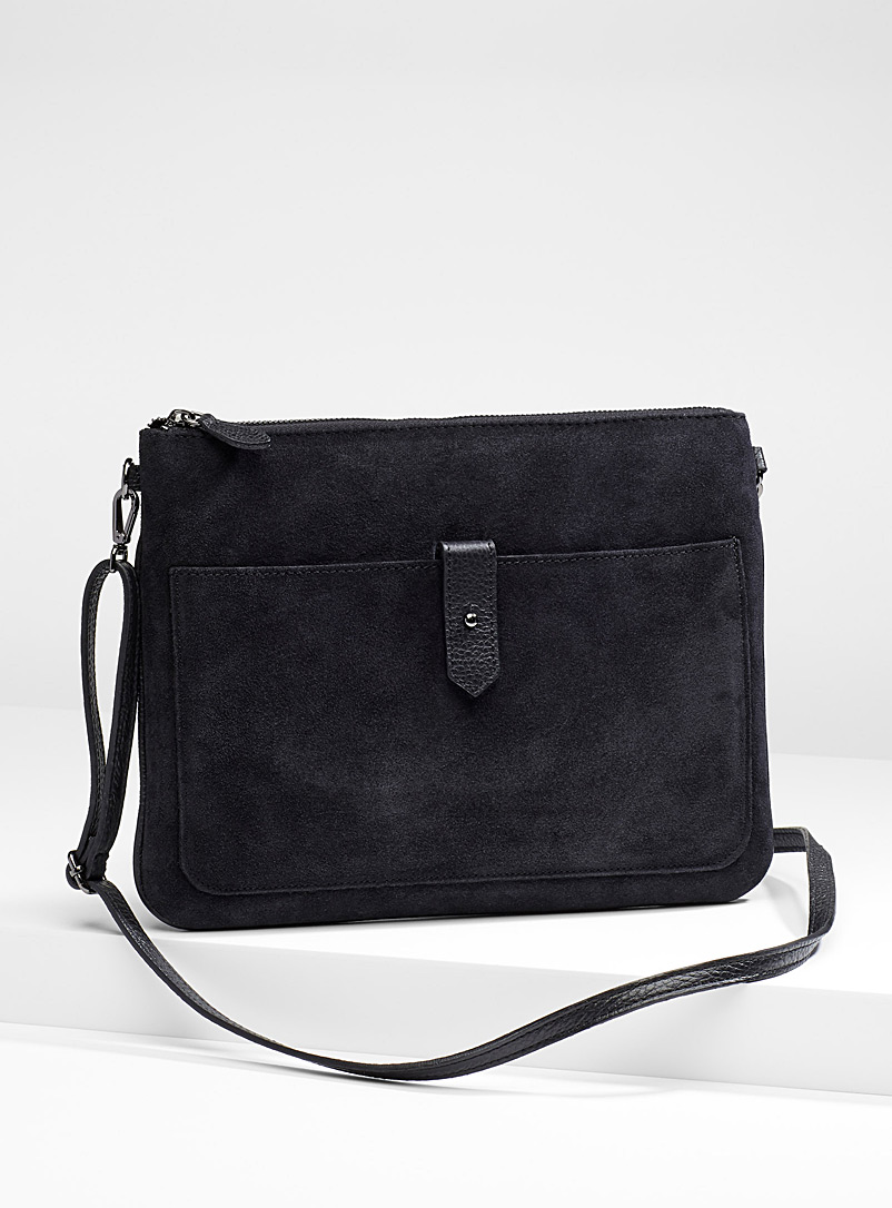 Suede shoulder bag - Clutches and Minaudieres - Black