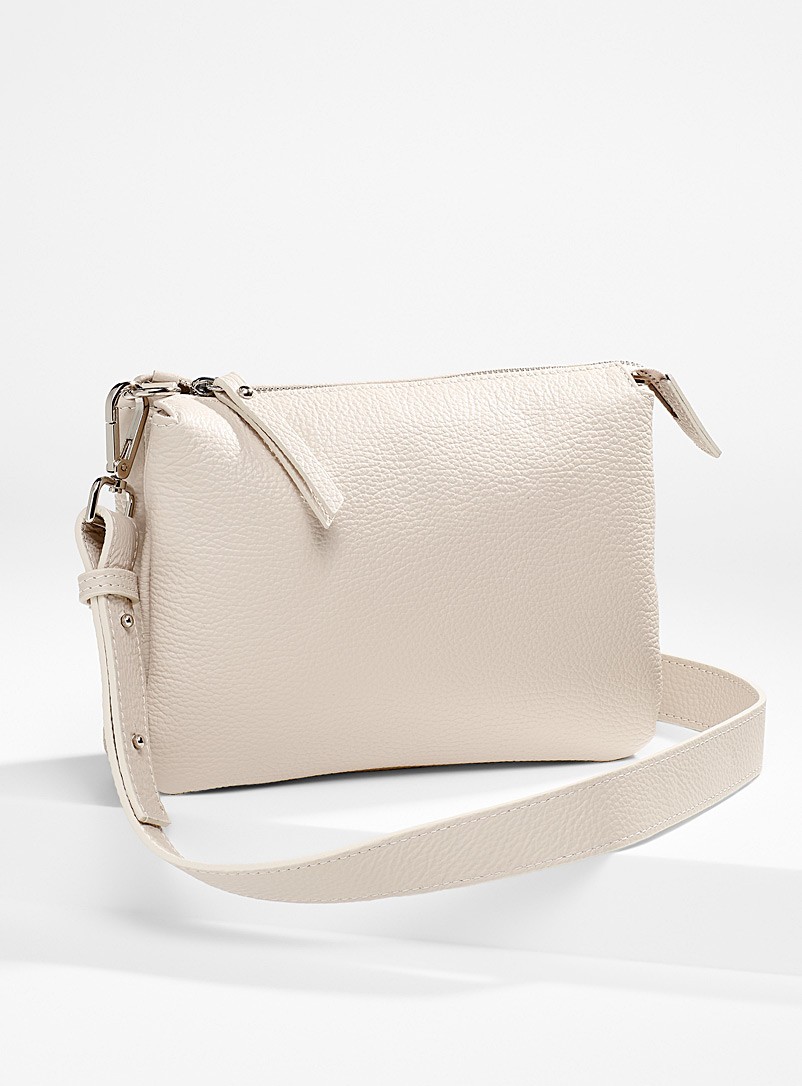 Simons Cream Beige Double small pocket shoulder bag for women