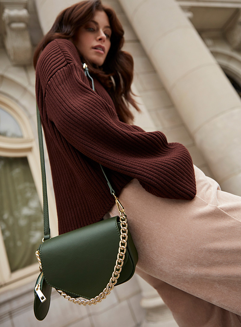 Simons Green Chain and leather-flap mini bag for women