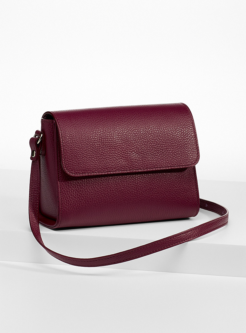 Simons Ruby Red Small minimalist leather shoulder bag for women