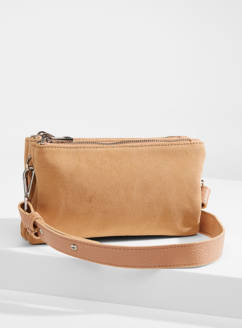 Double-zip suede crossbody bag