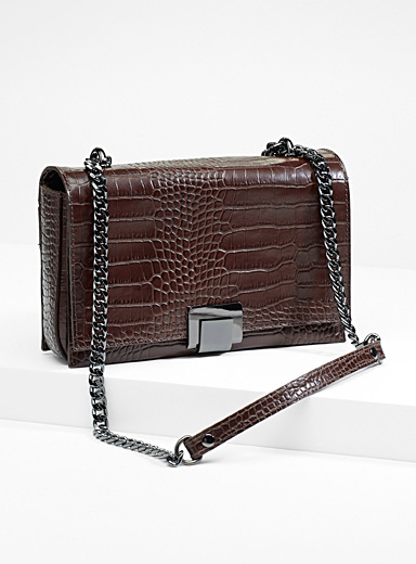 Croc chain shoulder bag