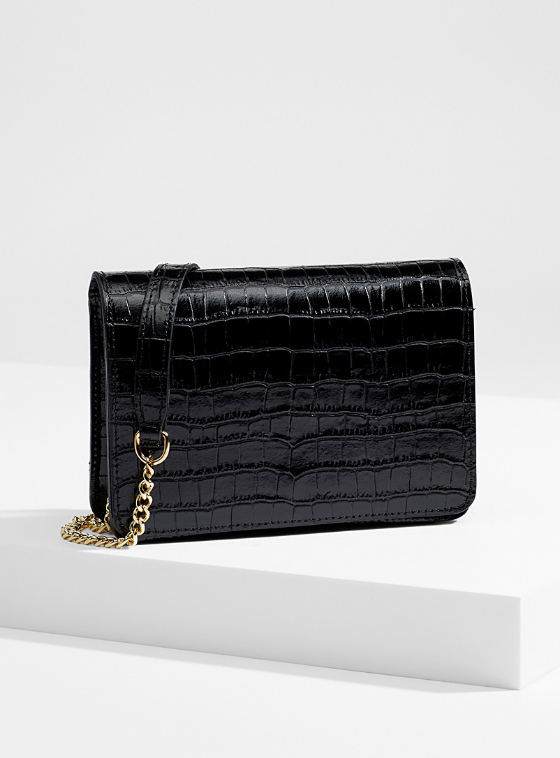 Simons Black Embossed faux-croc genuine leather clutch for women