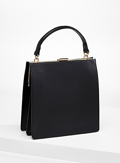 Simons Black Italian leather satchel for women