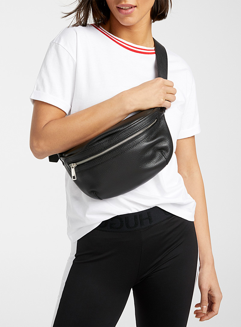 Simons Black Italian leather belt bag for women